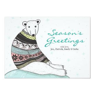 Holiday Card With Cute Polar Bear 13 Cm X 18 Cm Invitation Card