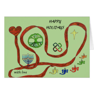 Holiday card with symbols for major holidays