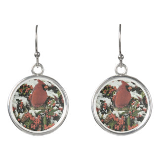 Holiday Cardinal Dangle Earrings
