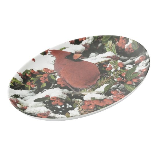 Holiday Cardinal Serving Platter