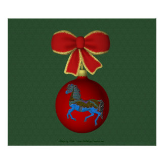 Holiday Carousel Horse Ornament Poster Print