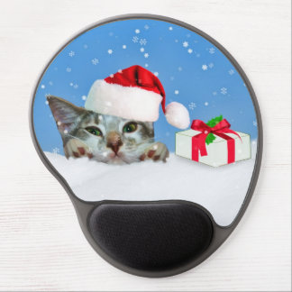 Holiday Cat in Santa Hat  Customizable Gel Mouse Mat
