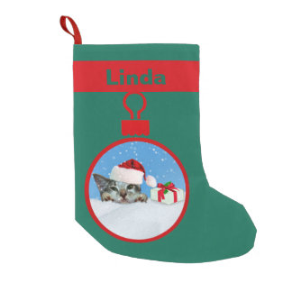 Holiday Cat in Santa Hat, Customizable Name Small Christmas Stocking