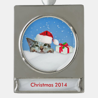 Holiday Cat in Santa Hat, Customizable Text Silver Plated Banner Ornament