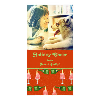 Holiday Celebration Cocktail Pattern Photo Card