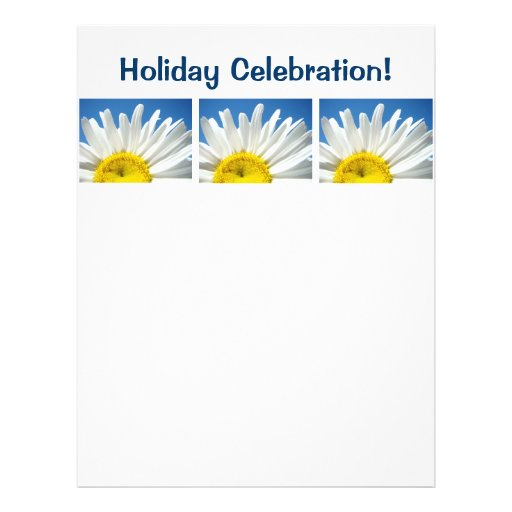 Holiday Celebration flyer paper Themed Daisies