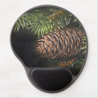 Holiday Chalk Drawn Pinecone and Pine Needles Gel Mouse Pad