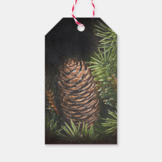 Holiday Chalk Drawn Pinecone and Pine Needles Gift Tags
