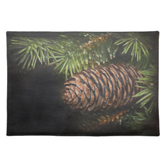 Holiday Chalk Drawn Pinecone and Pine Needles Placemat