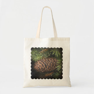 Holiday Chalk Drawn Pinecone and Pine Needles Tote Bag