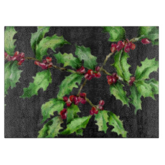 Holiday Chalk Green Holly and Red Berries Branch Cutting Board