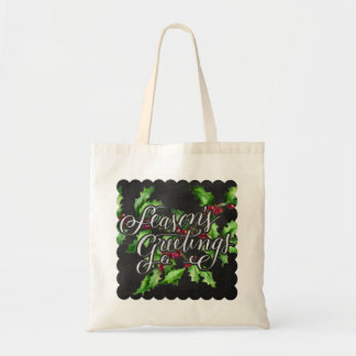Holiday Chalk Green Holly Branch Seasons Greetings Budget Tote Bag