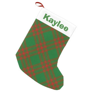 Holiday Charm Clan Menzies Red and Green Tartan Small Christmas Stocking