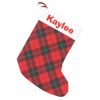 Holiday Charm Clan Ramsay Red and Black Tartan Small Christmas Stocking