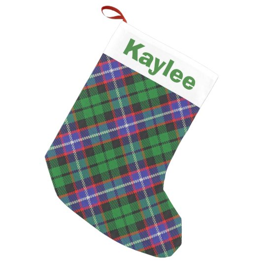 Holiday Charm Clan Russell Tartan Small Christmas Stocking
