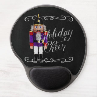 Holiday Cheer Chalkboard Purple and Red Nutcracker Gel Mouse Pad