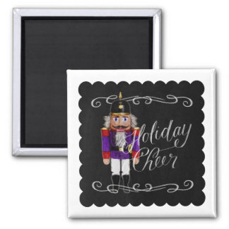 Holiday Cheer Chalkboard Purple and Red Nutcracker Square Magnet