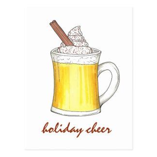 Holiday Cheer Christmas Eggnog Egg Nog Postcard