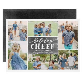 Holiday Cheer Collage Holiday Photo Card Black