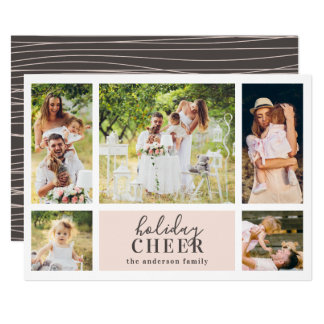 Holiday Cheer Collage | Pink Christmas Photo Card