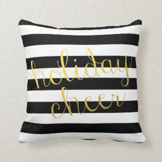 Holiday Cheer With Black & White Stripe Throw Pillow