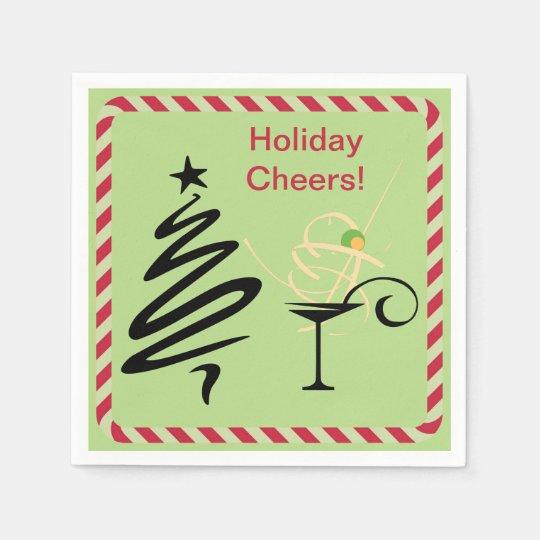 Holiday Cheers Mod Christmas Tree Martini Cocktail Disposable Napkin