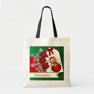 Holiday Christmas Bear Budget Tote Bag