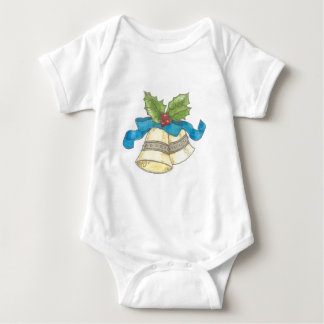 Holiday Christmas Bells Holly Blue Ribbon Design Baby Bodysuit