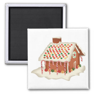 Holiday Christmas Candy Gingerbread Cottage Square Magnet