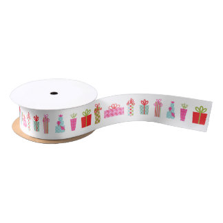 Holiday Christmas Gifts Wrapped Presents Satin Ribbon