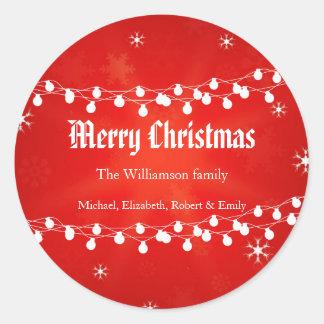 Holiday Christmas Lights Round Sticker