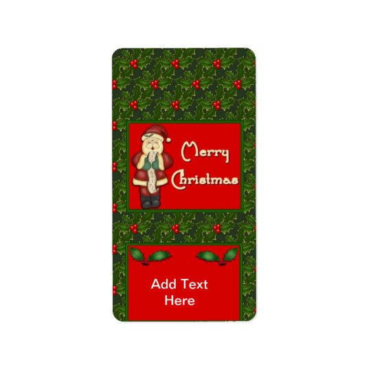 Holiday Christmas Miniature Candy bar wrappers Address Label