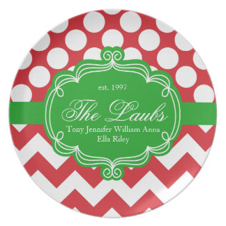 Holiday Christmas Print Personalized Monogram Plate
