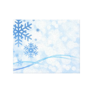 Holiday Christmas Snowflake Design Blue White Stretched Canvas Prints