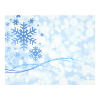 Holiday Christmas Snowflake Design Blue White Flyer Design