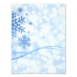 Holiday Christmas Snowflake Design Blue White Photo Print