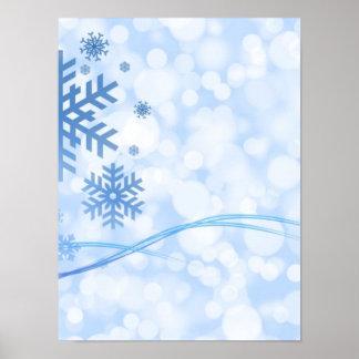 Holiday Christmas Snowflake Design Blue White Poster