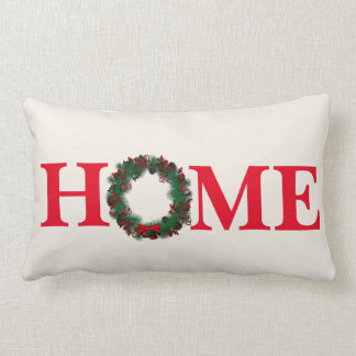 Holiday Christmas Wreath Throw Pillow