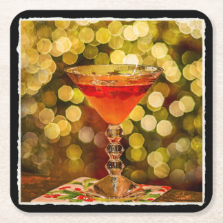 Holiday Cocktail with Lights Square Paper Coaster