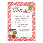 Holiday Cookie Exchange Red Stripes Invitations