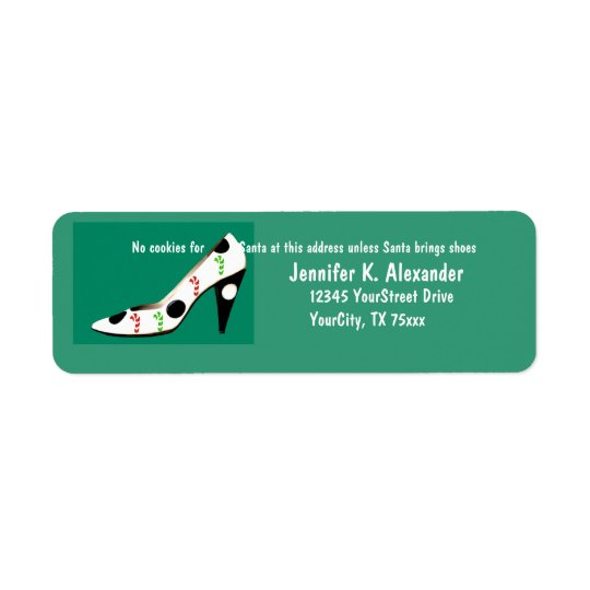 Holiday Cookies and  High Heel Shoes with Santa Return Address Label