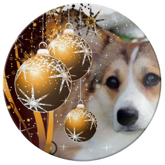 Holiday Corgi Porcelain Plate