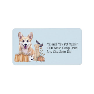 Holiday Corgi Puppy with Pumpkins Label