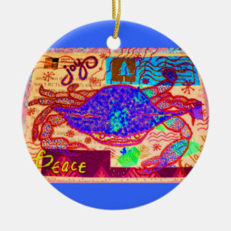 Holiday Crab Collage Christmas Ornament