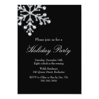 Holiday Crystal Snowflake (black) 13 Cm X 18 Cm Invitation Card