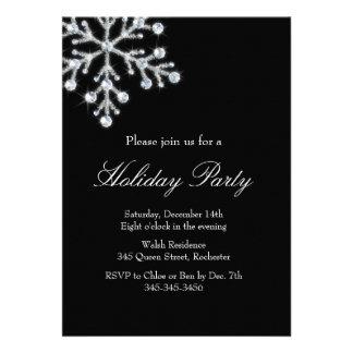 Holiday Crystal Snowflake black Custom Invites