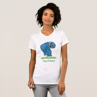 Holiday Cute Burrowing Owl in Green and Blue T-Shirt