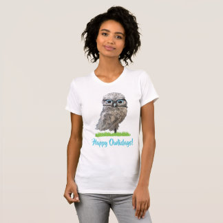 Holiday Cute Burrowing Owl in Silver and Blue T-Shirt