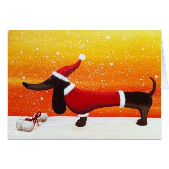 Holiday Dachshund and Dog Bone Christmas Gift Card