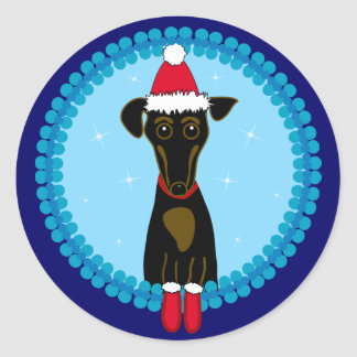 Holiday Dachshund Classic Round Sticker